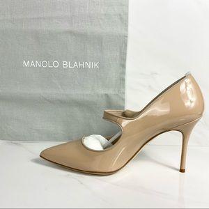 NWB MANOLO BLAHNIK CAMPARINEW Patent Leather Heel